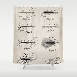 Fly Fishing Patent - Fisherman Art - Antique Shower Curtain