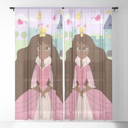 Fairy Tale Princess With Her Story Book Castle - Pink Dress Sheer Curtain