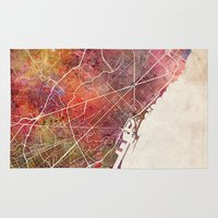 barcelona Area & Throw Rugs featuring Barcelona by MapMapMaps.Watercolors