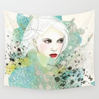 fashion illustration Wall Tapestries featuring FASHION ILLUSTRATION 10 by Justyna Kucharska