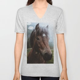 Brown Pony with a Cute Face Unisex V-Neck