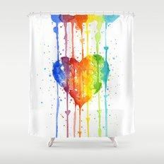 Heart Rainbow Watercolor Love Wins Colorful Splatters Shower Curtain