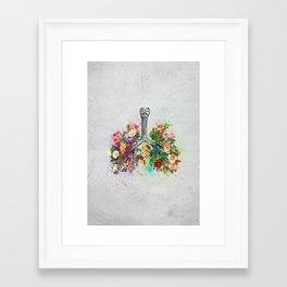 Flowers Lungs Skeleton Watercolor Framed Art Print