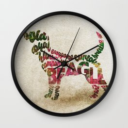Beagle Typography Art / Watercolor Painting Wall Clock