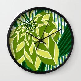 BAYAMO: GREEN SCENE, Art Deco Tropical Wall Clock