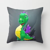 smaug Throw Pillows featuring The Childhood of Smaug ;) by pakowacz