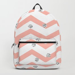 Geometrical coral white silver glitter polka dots Backpack