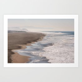 Ocean Beach, San Francisco Photography, From Above Art, Surfers, Pacific Ocean, California Art Art Print