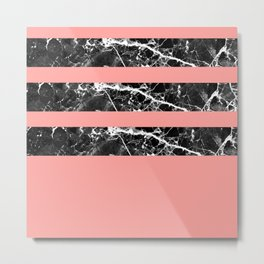 Modern coral black white marble stripes Metal Print