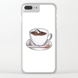 Caffeine addict tea and coffee cup illustration Clear iPhone Case