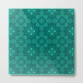 Retro .Vintage . Turquoise openwork ornament . Metal Print