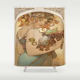 Vintage poster - Woman with fruit Shower Curtain
