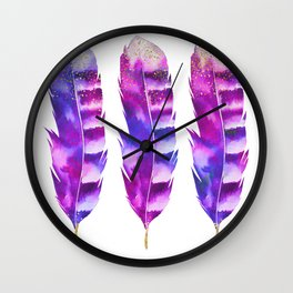 Pink Feathers watercolor painting Wall Clock