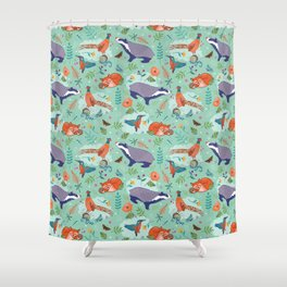 Woodland Animals on Green Shower Curtain