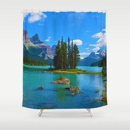 Spirit Island on Maligne Lake in Jasper National Park, Canada Shower Curtain