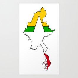 Myanmar Burma Map with Flag #2 Art Print