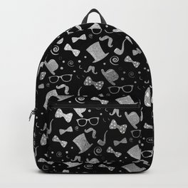 Hipster Elements Pattern silver on black Backpack