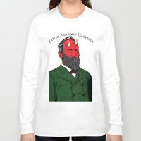garfield Long Sleeve T-shirts featuring James Abaddon Garfield by @DrunkSatanRobot