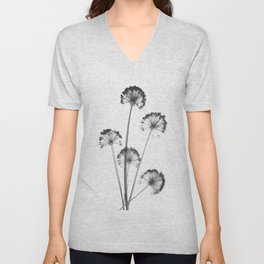 black and white flower wallpaper, flower decor, printable art Unisex V-Neck