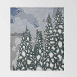 A Blue and Grey Day in Winter Throw Blanket