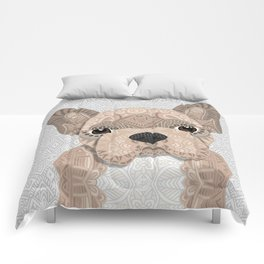 Beige Frenchie Puppy 001 Comforters