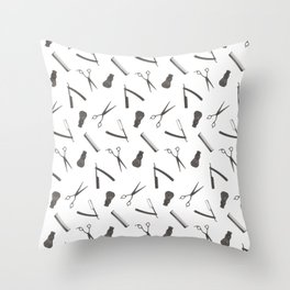 Barbershop pattern shaving razor, brushes and scissors on white Throw Pillow