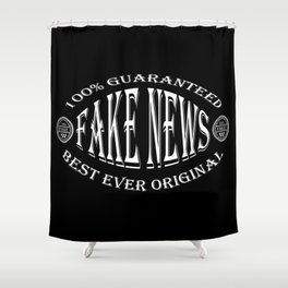 Fake News badge (white on black) Shower Curtain