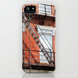 Old Red Brick Apartment with Ladders iPhone Case
