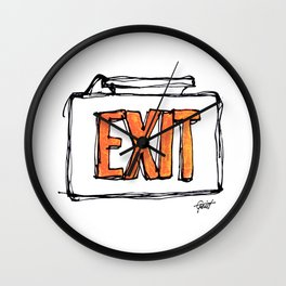"""Exit"" Hand Drawn Exit Sign Orange on White Wall Clock"