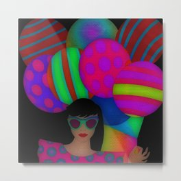 Fun With Coloring Balloons Electric Metal Print