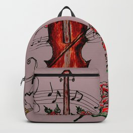 Brown Violin with Notes Backpack