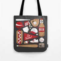 baseball Tote Bags featuring Baseball by Jessica Giles