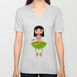 Hawaiian dancer with hibiscus  Unisex V-Neck