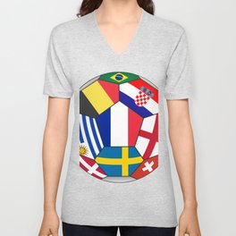 Football ball with various flags - semifinal and final Unisex V-Neck