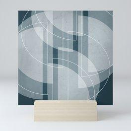Abstract Semi Circle Design in Aqua Mini Art Print
