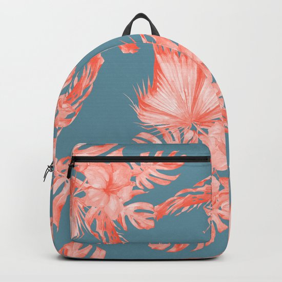 Dreaming of Hawaii Pale Coral on Teal Blue Backpack
