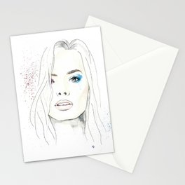 Margot Robbie Harley Quinn watercolor Stationery Cards