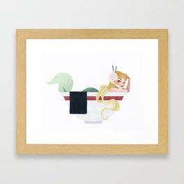 Ramen Mermaid Framed Art Print