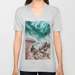 Aerial Ocean Print, Ocean Landscape, Beach Photography, Beach Print, Ocean Print, Ocean Water Unisex V-Neck