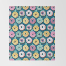 Undercover donuts // turquoise background pastel colors fruit donuts Throw Blanket
