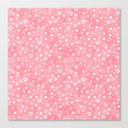 Blush pink white watercolor hand painted valentines day hearts Canvas Print