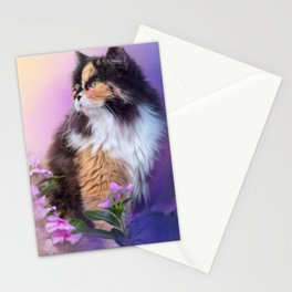 Calico Kitty In The Garden Stationery Cards