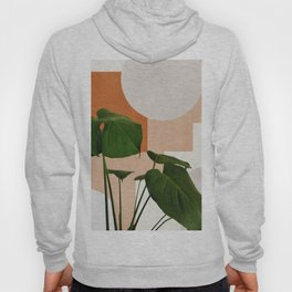 Mid century abstract tropical monstera leaf Hoody