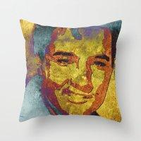 elvis presley Throw Pillows featuring Elvis Presley by Pedro Nogueira