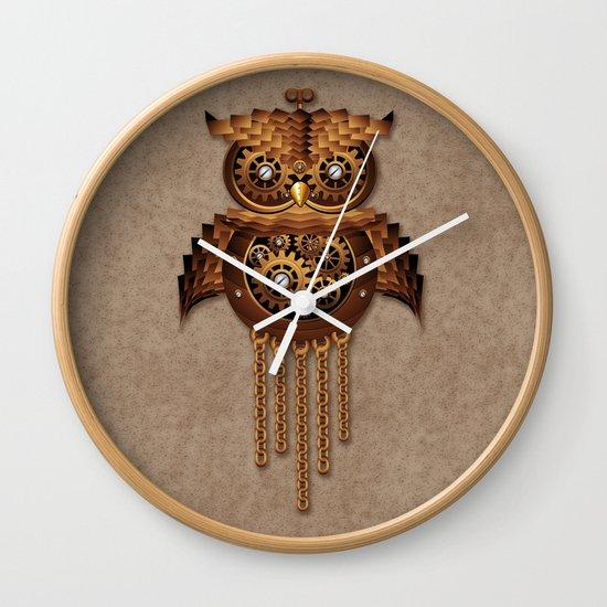 Steampunk Owl Vintage Style Wall Clock By Bluedarkart