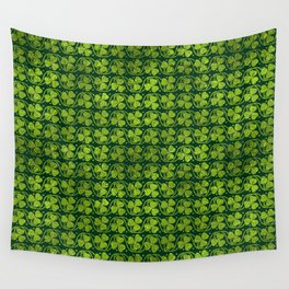 Irish Shamrock -Clover Green Glitter pattern Wall Tapestry