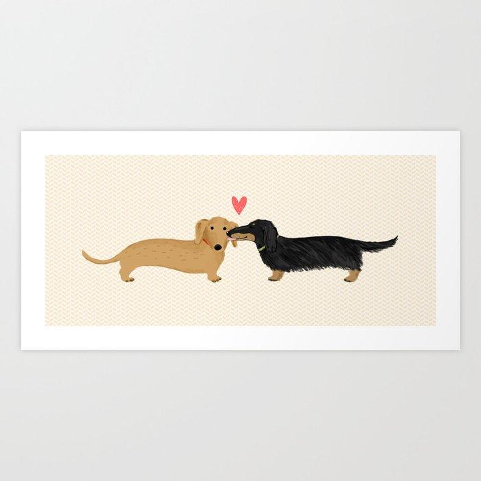 Cute Wiener Dogs with Heart | Dachshunds Love Kunstdrucke