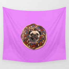 Pug Chocolate Donut Wall Tapestry