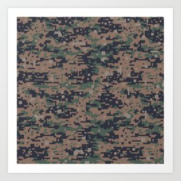 Marines Digital Camo Digicam Camouflage Military Uniform Pattern Art Print