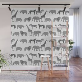 Safari animals minimal grey and white zebra giraffe cheetah hippo rhino nursery Wall Mural
